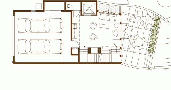 Floor plan modern row house replace garage with some other for Modern row house plans