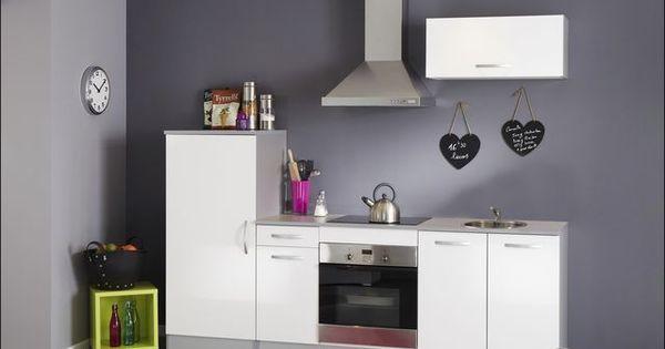 GLOSSY Cuisine complète linéaire : meubles bas + hauts + armoire ...