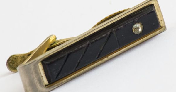 Vintage Tie Clip Modern Black Toggle Front w/ by CuffsandClips, $13.50