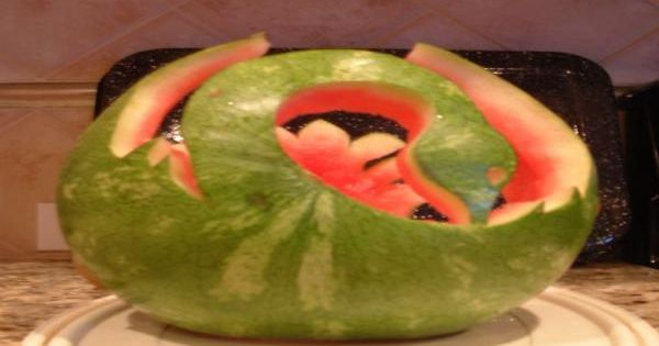 Watermelon sculptures for holding fruit