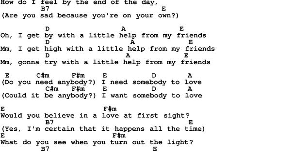 Song lyrics with guitar chords for With A Little Help From My ...