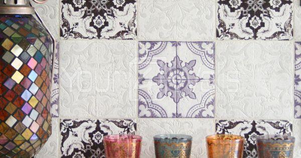 d tails sur 39 marocain tuile 39 g om trique papier peint. Black Bedroom Furniture Sets. Home Design Ideas