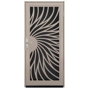 Unique Home Designs 36 In X 80 In Solstice Tan Surface Mount Steel Security Door With Black Perforated Screen And Nickel Hardware Idr31000362146 The Home De Aluminum Screen Doors Security Screen