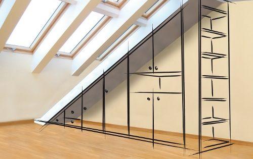 placard sous pente idee pour la chambre id es d 39 am nagement de soupentes pinterest. Black Bedroom Furniture Sets. Home Design Ideas
