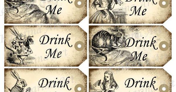alice in wonderland tags template - drink me tags alice in wonderland printable gift hang