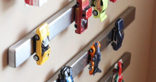 Magnetic Car Storage...love! No more stepping on hot wheels lol