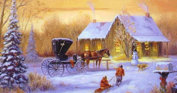horse and carriage. log cabin, snow, children on a ...