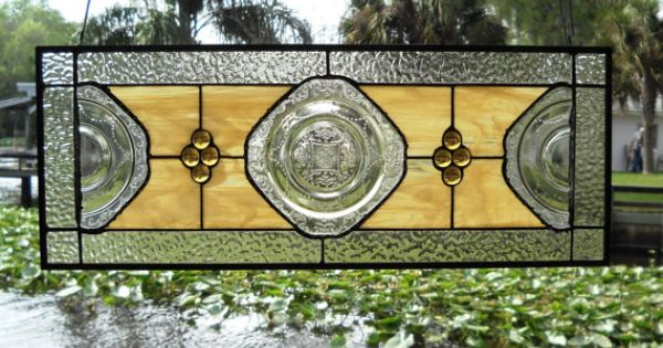 Stained Glass Plate Panel 1930s Depression Glass Madrid