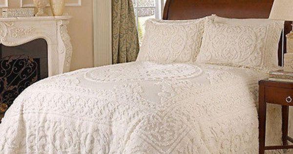 Cotton Queen Bedspread Chenille White Size Bedding