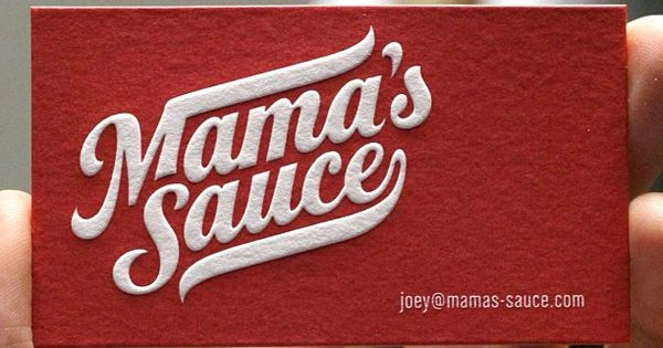 Awesome Letterpress Business Card for Mama's Sauce.