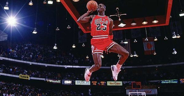 Image: Michael Jordan, Chicago Bulls, Chicago, 1988 NBA Slam Dunk Contest (©
