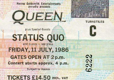 Ticket: Concert: Queen live at the Wembley Stadium, London, UK [11.07.1986]   Legends, Stars, Music, Movies, Documentaries   Pinterest   Wembley stadium, ...