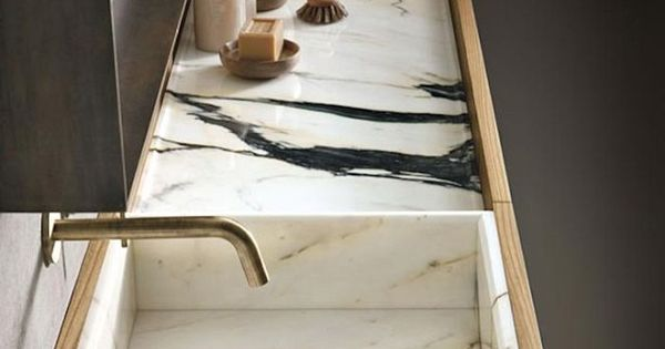 Custom Bathroom Sink with dark veined marble from Italian ...