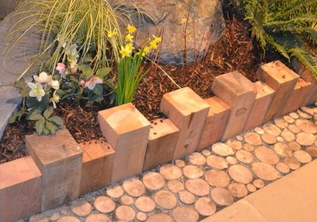 I liked the use of simple 4 x 4's for edging and