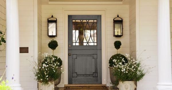 Front Porch // Blue Door // Symmetrical Large Lighting // Large &