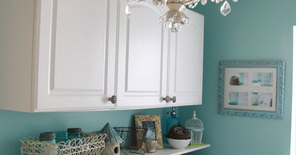 Laundry Room color! Bher River's Edge. Love the light fixture!