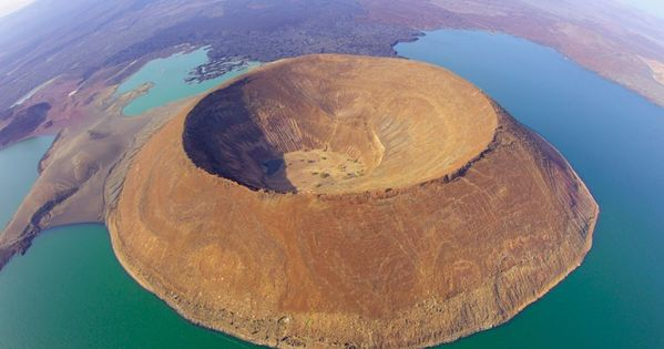 An aerial view of Nabiyotum Crater in Lake Turkana - the world's