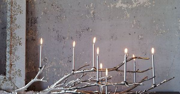 Silver branch Manzanita Candelabra, would make a lovely woodland menorah // WestElm
