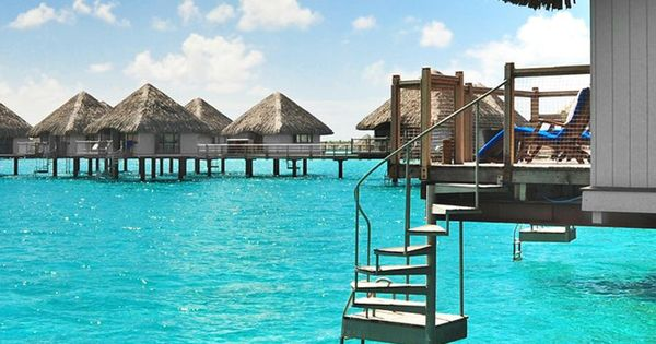 Over water Bungalows with Steps into Lagoon | Luxury Beach Villas and