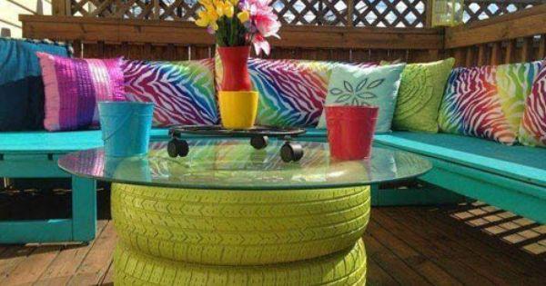 Une Table Basse De Jardin Diy Avec Des Pneus De Voiture Recycler Des Pneus Patio Diy Projets De Mobilier