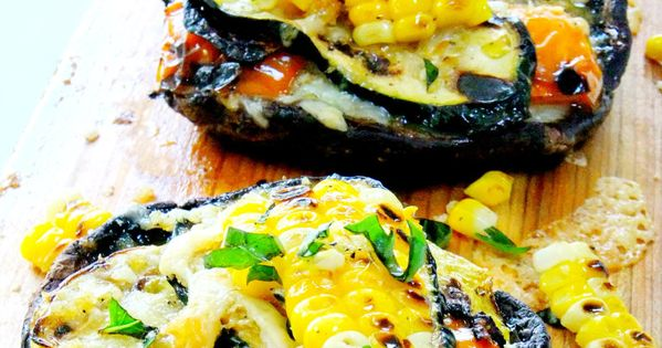 grilled portobellos stuffed with fresh grilled veggies