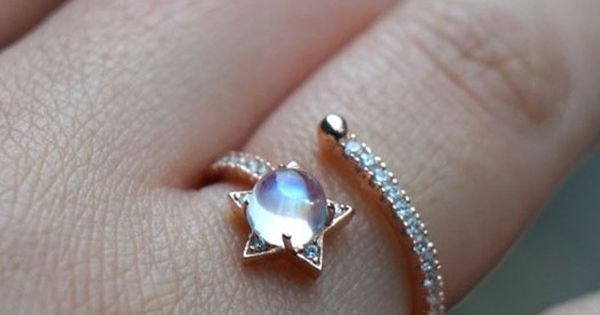 Unique Dreamlike Rose Gold Sparkle Moonstone Star Open Ring Nice Jewelry Gift