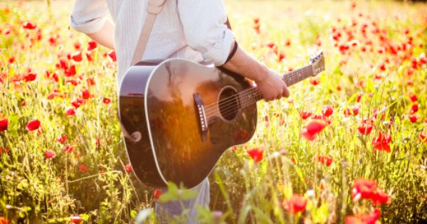 Guitar And Poppy Field With Summer Light Guitar Photography