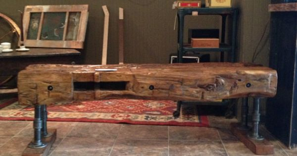 This Bench Is Handcrafted From Hand Hewn Beams Taken