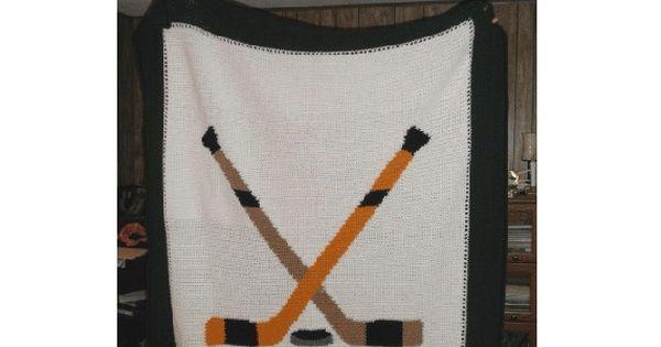 Crochet Hockey Afghan Pattern : INSTANT DOWNLOAD Chella Crochet Hockey Crossed Sticks Puck ...