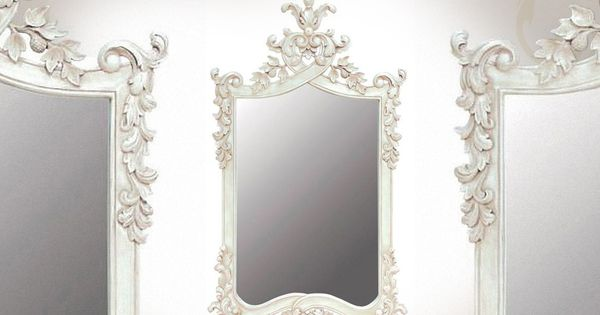 Grand miroir baroque blanc en acajou sculpt miroir for Grand miroir blanc baroque