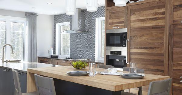 Cuisine contemporaine rustique armoires de cuisine shaker for Comptoir pour cuisine americaine