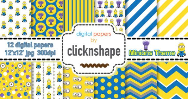 Minion digital paper minion theme digital paper minion for Themed printer paper
