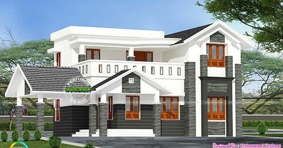 244 Square Yard Modern 4 Bedroom Home Kerala House Design Village House Design Modern Style House Plans