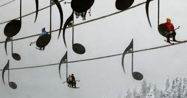 Musical Ski Lift Chairs, France fun photo music