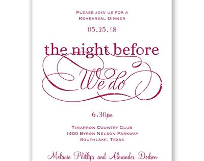 Elegant Swirls Petite Rehearsal Dinner Invitation