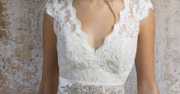 Elegant V-neck Lace Wedding Dress For Older Brides Over 40