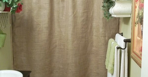 Burlap Shower Curtain Rustic Country French Chic Via Etsy Bathroom Pinterest