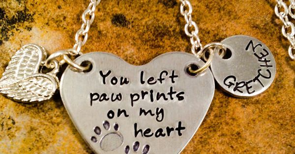 Pet Memorial Necklace Loss Of Pet Necklace You Left Paw