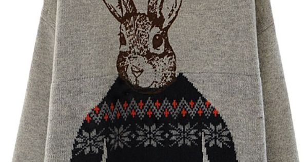 Rabbit Print Sweater