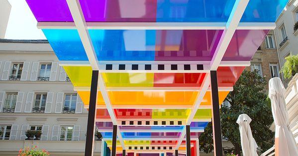 Daniel buren creates a chromatic landscape in the gardens for Garden design ideas bristol