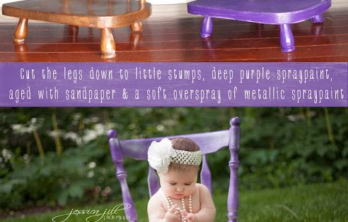Cute idea! Cut the legs off an old chair for babies to