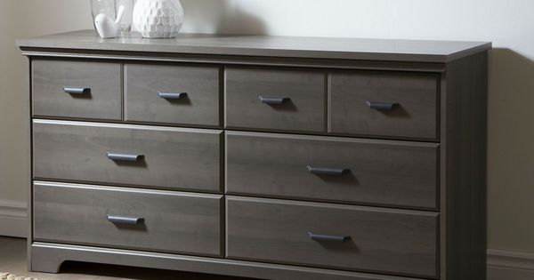 Gray Maple Wood Finish 6Drawer Bedroom Dresser with Matte