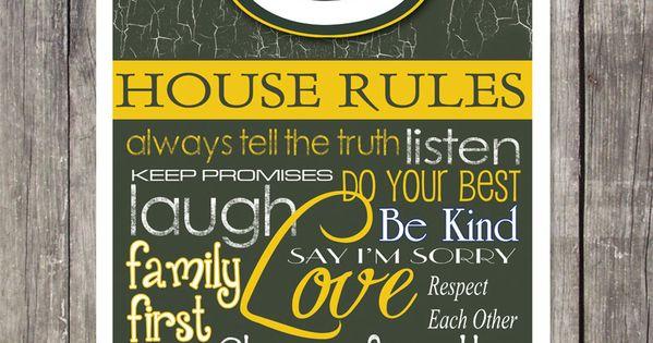 Green Bay Packers House Rules Art Print By Fanzoneimprintz