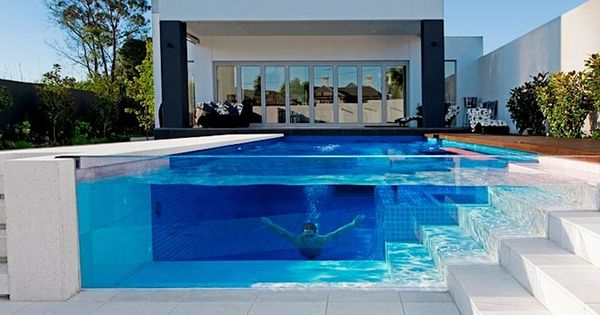 Awesome Pool with glass wall.