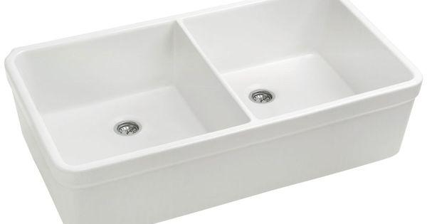 Whitehaus Basichaus Non Reversible Double Bowl Fireclay Farmhouse Sink ...