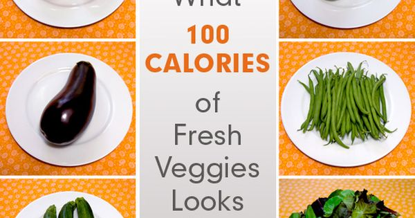 What 100 calories of fresh veggies look like! The original 100 calorie