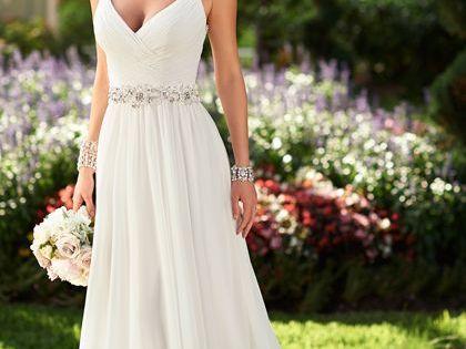 Flowy grecian bridal gown with sparkly belt stella york for Sparkly wedding dress belt