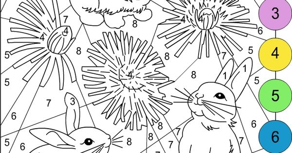 Nicoles Free Coloring Pages COLOR BY NUMBER Bunnies Coloring Pages