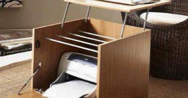 Working laptop desk with built-in printer cabinet. | Home Office