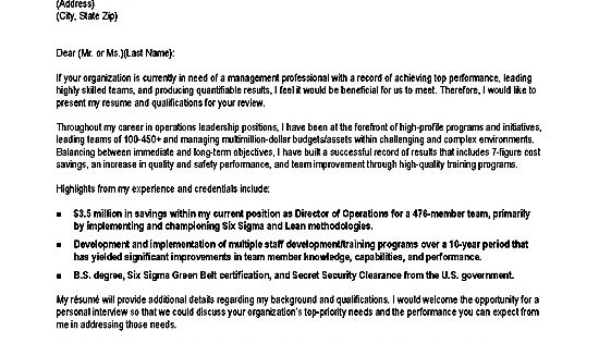 Operations Production Cover Letter Example